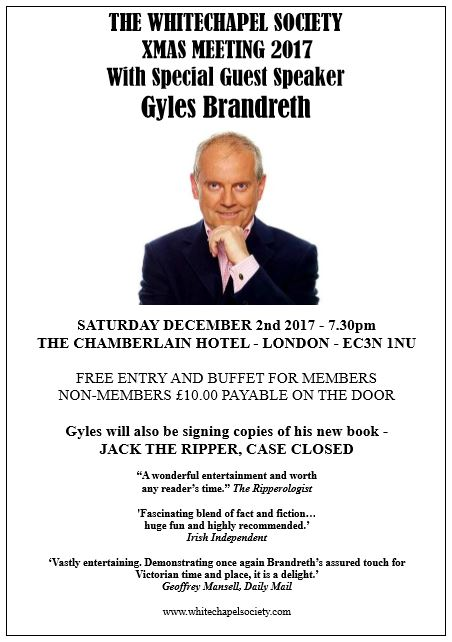 Gyles Brandreth Whitechapel Society Guest speaker