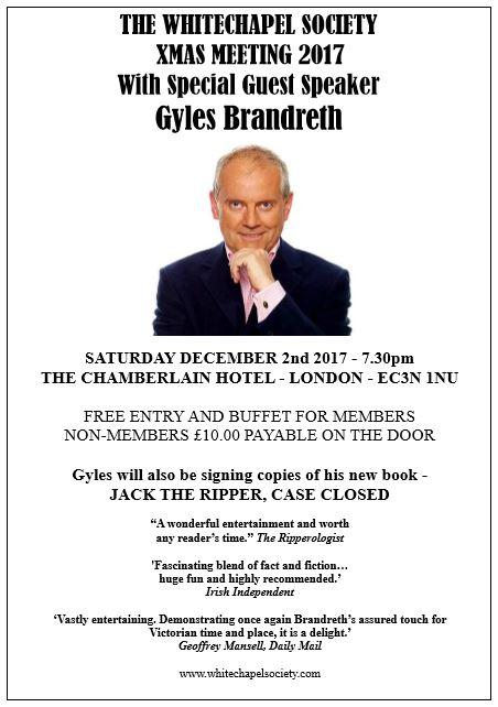 Gyles Brandreth Whitechapel Society Guest speaker
